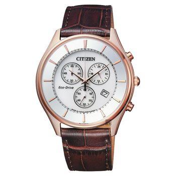 CITIZEN 星辰 光動能新世代計時腕錶-玫瑰金框x咖啡/40mm AT2362-02A