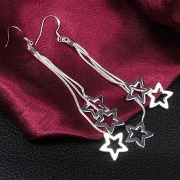 【米蘭精品】925純銀耳環耳針式耳飾星星造型可愛吸睛百搭73au44