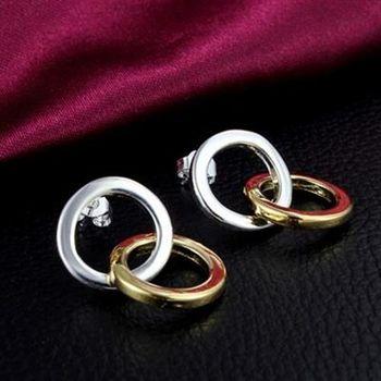 【米蘭精品】925純銀耳環耳針式耳飾雙色環扣造型美艷迷人百搭73au51