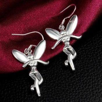【米蘭精品】925純銀耳環耳針式耳飾小天使造型精緻可愛百搭73au61