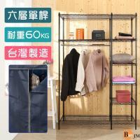 BuyJM 黑烤漆六層120x45x180單桿大衣櫥附藏藍色布套