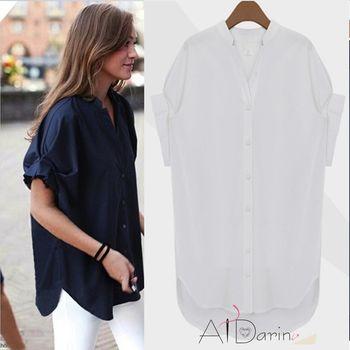 【A1 Darin】韓版英倫風袖口造型寬鬆顯瘦V領襯衫-,