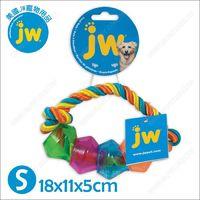 美國JW《繽紛磨牙棉繩益智豆莢環S》潔牙抗憂鬱漏食玩具