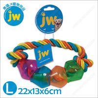 美國JW《繽紛磨牙棉繩益智豆莢環L》潔牙抗憂鬱漏食玩具
