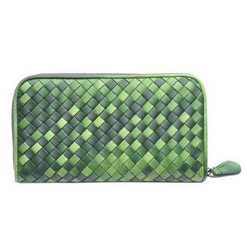 【Yasmine】進口羊皮手工編織雙色拉鍊長夾(墨綠)