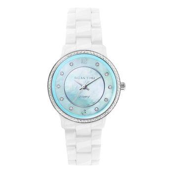 Relax Time RT55 迷你馬卡龍晶鑽陶瓷腕錶-蒂芬妮綠/30mm RT-55-15