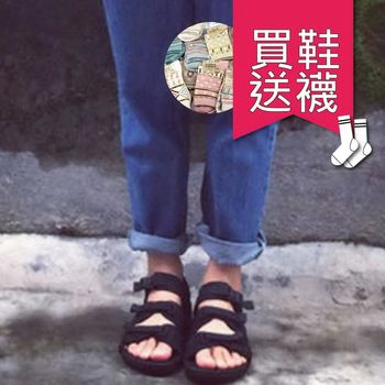 【SEIO】買一送一 買鞋送襪 ulzzang經典款 暗黑百搭涼鞋zipper 魔鬼氈簡約三條 男女可穿