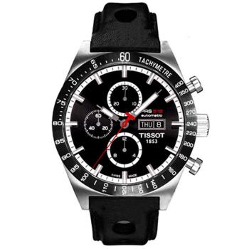 TISSOT天梭  PRS516 Valjoux 經典之作賽車款計時機械錶(黑/皮錶帶-T0446142605100)