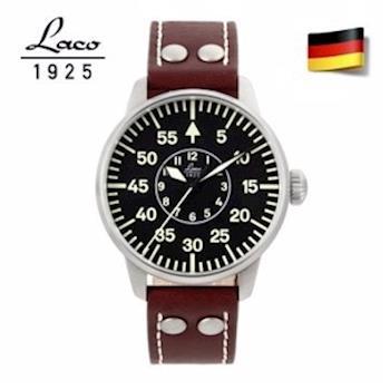 【LACO朗坤】861690 德國工藝 Aachen 軍事風格夜光飛行機械錶 黑/紅棕 42mm