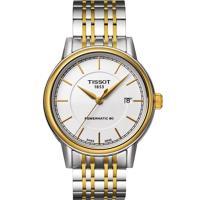 TISSOT 天梭 Carson Powermatic 80 寧靜時光機械腕錶(銀x雙色/39mm) T0854072201100