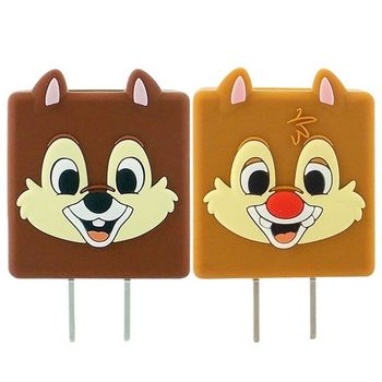 Disney 可愛造型充電轉接插頭 USB轉接頭-奇奇/蒂蒂