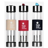 【H2O】時尚玻璃情侣 茶葉分離 泡茶 隨身瓶(送杯套/清潔刷隔熱圈)
