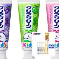 日本原裝進口 KAO 兒童牙膏(葡萄/草莓/哈蜜瓜)3款選擇70g*3+【日本SUNSTAR】巧虎兒童牙刷(2~4歲)*6