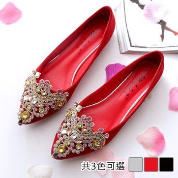 【Alice 】 (現貨+預購) 時尚華麗水鑽尖頭平底鞋