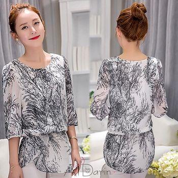 【A1 Darin】韓版寬鬆中長版高雅黑白線條印花雪紡長上衣