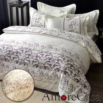 【AmoreCasa】羅蘭玫瑰 綿柔感吸濕排汗加大四件式被套床包組(2色可選)-加贈同系列枕套