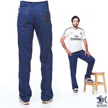 【NST Jeans】390(5513) 口袋徽章 礦物藍牛仔褲(中腰)-行動