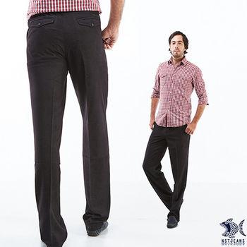 【NST Jeans】390(5518) 夏日柔軟 經典直紋黑斜口袋休閒褲(中腰) 大尺碼/兩色可選 直紋黑/咖啡直紋-行動