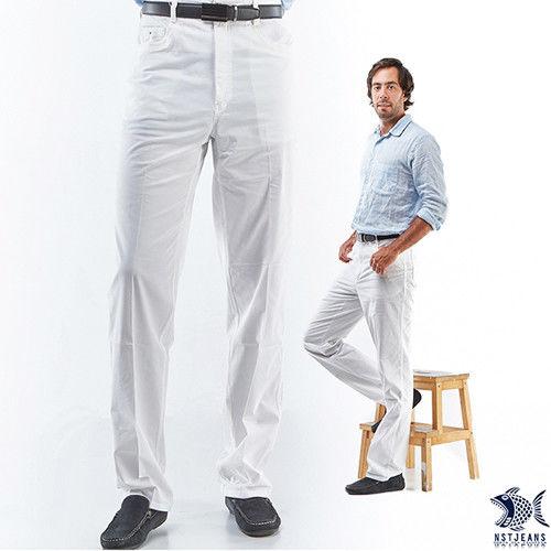 【NST Jeans】390(5519) 白色暖男 MUJI風白色休閒褲(中腰)