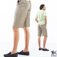 【NST Jeans】390(9397) 夏日柔軟 卡其直紋_經典款斜口袋短褲(中腰)-行動