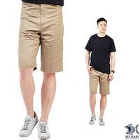 【NST Jeans】390(9400) 清爽卡其 幾何印花 純棉休閒短褲(中腰 鬆緊帶 修身版)-行動