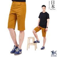 【NST Jeans】390(9401) 熱帶南島薑黃色 休閒短褲(中腰 鬆緊帶 修身版)-行動