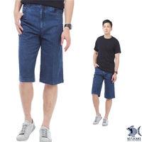 【NST Jeans】002(9409) 淺牛仔藍_光速感金黃色車線 七分牛仔褲(中高腰 鬆緊帶 寬版)-行動