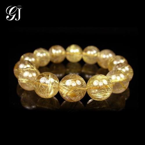 [晉佳珠寶] Gemdealler Jewellery 天然14mm鈦晶圓珠手鍊/手珠 重達67g