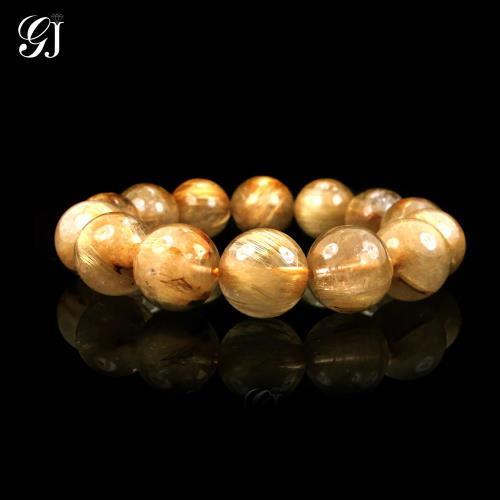 [晉佳珠寶] Gemdealler Jewellery 天然13mm鈦晶圓珠手鍊/手珠 重達51.8g