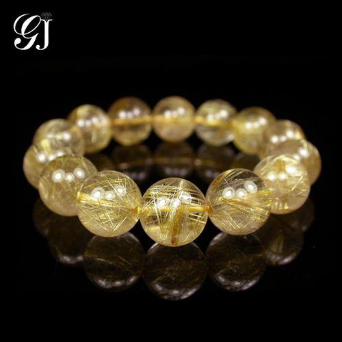 [晉佳珠寶] Gemdealler Jewellery 天然13mm鈦晶圓珠手鍊/手珠 重51.5g