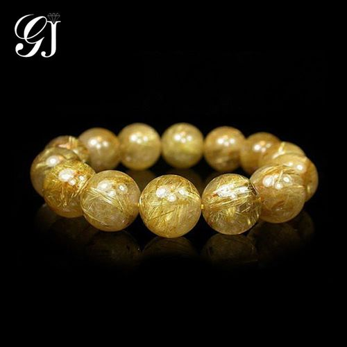 [晉佳珠寶] Gemdealler Jewellery 天然16mm鈦晶圓珠手鍊/手珠 重達82.8g