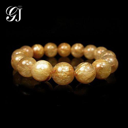 [晉佳珠寶] Gemdealler Jewellery 天然12mm鈦晶圓珠手鍊/手珠 重達49.6g