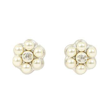 CHANEL 珍珠針式耳環(白色)