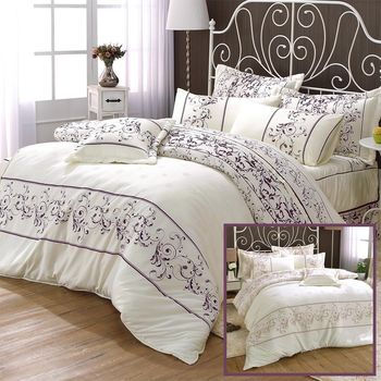 【AmoreCasa】羅蘭玫瑰 綿柔感吸濕排汗雙人八件式兩用被床罩組(2色可選)-加贈同系列枕套