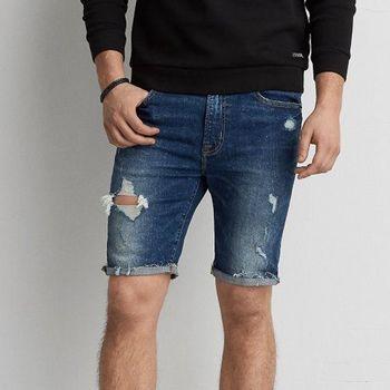 【American Eagle】2017時尚破損深度刷洗藍齊膝短牛仔褲(預購)