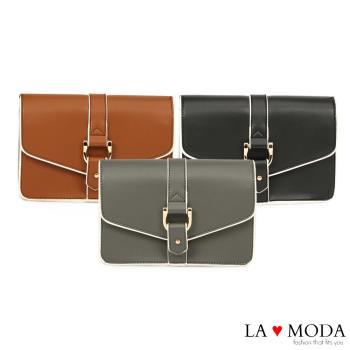 La Moda 設計感街頭Look 硬挺牛紋肩背郵差包 (共3色)
