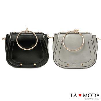 La Moda 氣質優雅百搭極具設計感大釦環肩背斜背馬鞍包 (共2色)