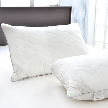 義大利La Belle 法國天然羽毛絨舖棉舒眠枕 二入