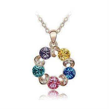 【米蘭精品】玫瑰金項鍊水晶純銀吊墜-甜美摩天輪5色73bb39