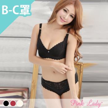 【PINK LADY】花舞香頌 薄襯BC罩成套內衣6809(黑)