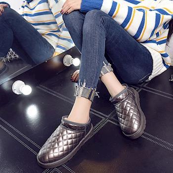 【森之舞】冬季甜心-保暖格紋加絨防水短筒雪靴 (粉色/黑色/可可色)
