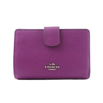 COACH 立體LOGO防刮多卡釦式短夾-紫色