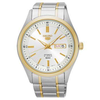 SEIKO 精工5號盾牌日曆機械腕錶-銀x雙色/44mm 7S26-04M0K(SNKN92J1)