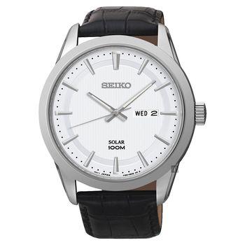 SEIKO 精工 紳士太陽能時尚腕錶-銀/44mm V158-0AS0W(SNE359P2)