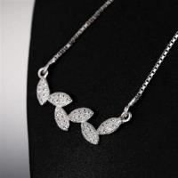 【米蘭精品】純銀項鍊鍍白金鑲鑽吊墜精緻奢華時尚氣質73dw33