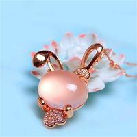 【米蘭精品】玫瑰金純銀項鍊芙蓉石鑲鑽吊墜時尚精緻可愛兔子73fk11