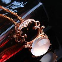 【米蘭精品】玫瑰金純銀項鍊芙蓉石鑲鑽吊墜時尚精緻可愛猴子73fk25