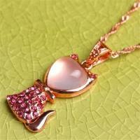 【米蘭精品】玫瑰金純銀項鍊芙蓉石鑲鑽吊墜時尚精緻可愛小貓73fk31