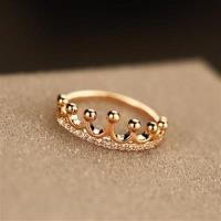 【米蘭精品】玫瑰金戒指鑲鑽銀飾韓版時尚皇冠造型73by24