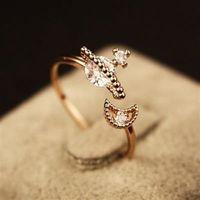 【米蘭精品】玫瑰金戒指鑲鑽銀飾獨特星星月亮時尚73by28